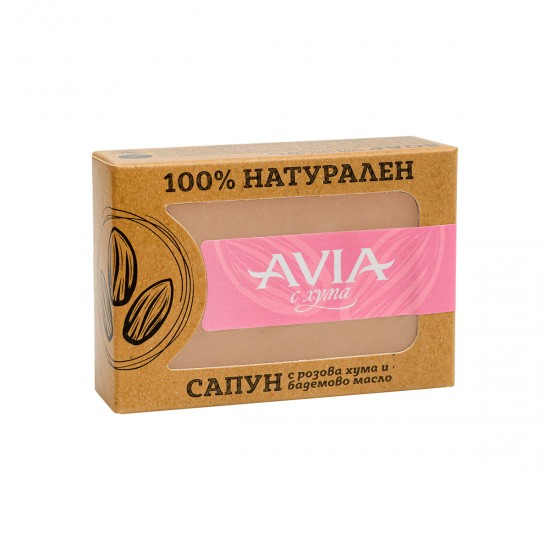 AVIA 100% Natural soap with Pink French Clay, Almond Oil, Basil Oil and Rose Concrete