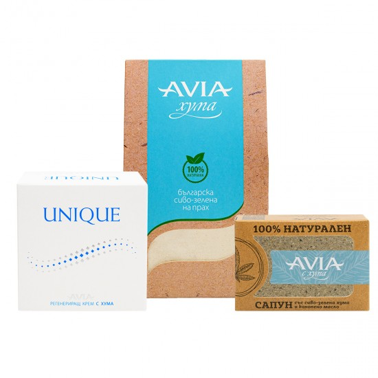 AVIA SOS Pack for the whole family: Gray-Green Clay, UNIQUE Regenerating cream & NATURAL soap with hemp oil
